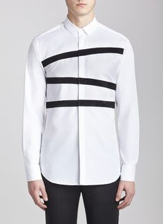 Straight Collar Banded Tuxedo Shirt White/black neil barrett