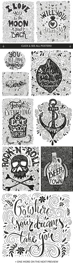 11 Hand Lettering Quotes by Favete Art on Creative Market