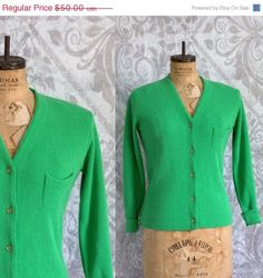 1970s Kelly Green Hadley Cardigan by SassySisterVintage $34 ~Click Link Above to Purchase~