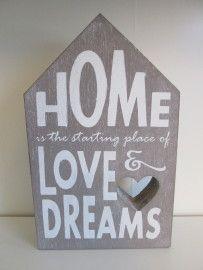 "Tekstblok huis ""Home is"", 25 cm in de kleur taupe  www.hkhomecollection.nl"