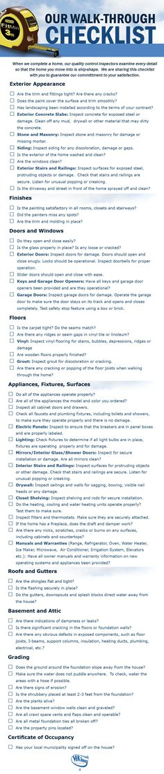 When Viking completes a home, our Quality Control Inspectors examine every detail so that the home you move into is ship-shape. We're sharing Our Walk-Through Checklist to guarantee that you'll be fully satisfied with your new Viking home!