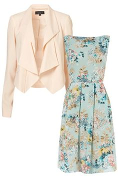 what to wear to a summer wedding -- blue floral print dress and pastel blazer