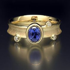 14K Solid Gold Ring with Ceylon Sapphire and 3 diamonds