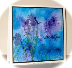 hand crafted card brushos thank you WT533 ... wather color in blues and purple ...