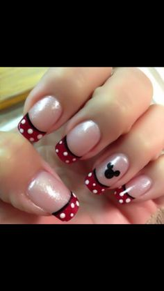Red white and black Disney nail art