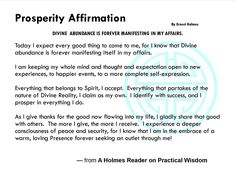 Prosperity Affirmation by Ernest Holmes