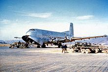 C-124A     Douglas Model 1129A, production version with four 3,500 hp R-4360-20WA engines; 204 built, most retrofitted later with nose-radar and combustion heaters in wingtip fairings.