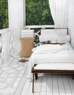 Dreamy White Porch with Chaise lounge.a beach house with a view. Wonderful place to read, relax, dine, work. Outdoor Rooms, Outdoor Living, Outdoor Daybed, Outdoor Curtains, Outdoor Kitchens, Indoor Outdoor, White Porch, Sleeping Porch, Interior And Exterior
