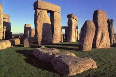 NEOLITHIC: Stonehenge c. 2000 BC. Cromlech (the setting of religious observances). Evenly spaced upright posts supported by horizontal slabs (lintels) and two inner circles with altar-like stone at center. Entire structure oriented toward the exact point at which the sun rises on the day of the summer solstice (possible sun-worshiping ritual). LOCATION: SALISBURY PLAIN (WILTSHIRE) ENGLAND