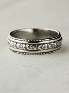 Floral Sterling Silver Band