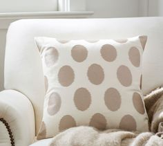 Satin Embroidered Dot Pillow Cover | Pottery Barn