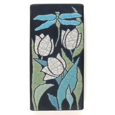 Dragonfly and white tulips, a 3x6 ceramic handmade art tile for your home, wall art,home decor on Etsy, $39.00