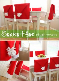 Santa Hat Chair Covers - 20 Magical DIY Christmas Home Decorations You'll Want Right Now