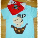 Pack pirata: camiseta barco y Bandana calavera.