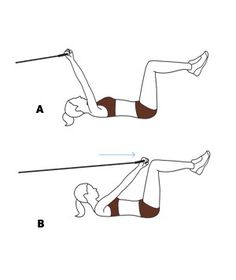 Move 4: Crunch With Lat Pull-Down Loop the band around a stable object, like a doorknob. (A) Lie on your back, gripping the band's handles with arms extended. Raise your legs and bend your knees so your shins are parallel to the floor. (B) Crunch your upper body forward while drawing your arms toward your knees. Roll back to starting position. Repeat 20 times.