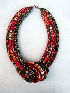 African wax BIB Necklace Fabric cord knot necklace by nad205