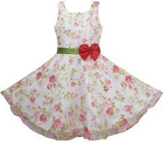 Amazon.com: 3 Layers Girls Dress Vintage Bow Tie Pageant Wedding Party Kids Clothes Size 4-12: Clothing