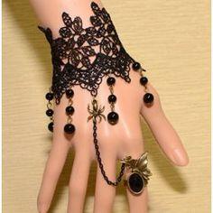 Neuf Bracelet Gothique Dentelle Noir Et Bague Réglable Araignée Doré (Gothique Lolita Steampunk Baroque Vampire Victorien)