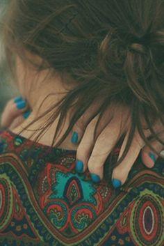 blue nails.