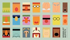 Minimalist Muppet portraits. It's amazing how easy it is to identify who's who just by a few key features.