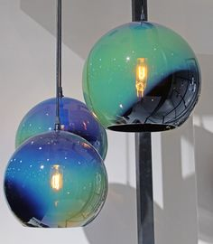 We loved these iridescent globe lights by the Canadian company Tsunami Glassworks. Light In, Lamp Light, Home Lighting, Pendant Lighting, Kitchen Lighting Design, Pendant Lamps, Lighting Ideas, Light Fittings, Light Fixtures