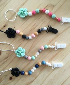 BPA free silicone beaded pacifier clips from Lulu and Lettie www.etsy.com/shop/LuluandLettie