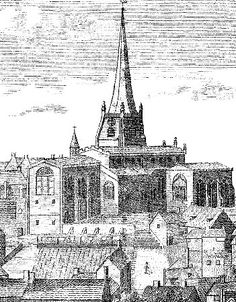 The Story of Walsall. Looking across the town towards the parish church in From F. Willmore's History of Walsall. Walsall, My Town, Old Photos, Paris Skyline, Birches, History, Genealogy, Drawings, England
