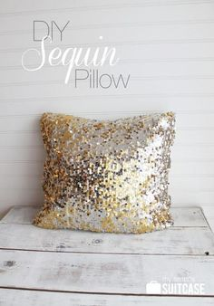 DIY Sequin Pillow...not like this, but adding a little gold subtly to the pillows....
