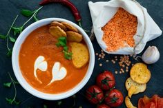 Tomato and red lentil soup. by kawizen  on Creative Market