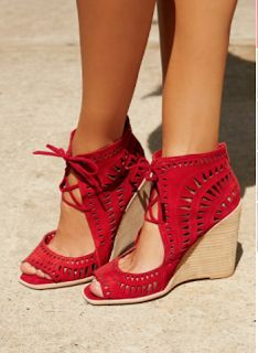 31912827a687 Red Suede Serena Wedge at Free People Clothing Boutique