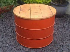 Oil Drum table/stool - sculpture , designer lighting, nick page Oil Barrel, Metal Barrel, Drum Chair, Drum Table, Barrel Projects, Metal Projects, Metal Crafts, Barrel Furniture, Funky Furniture