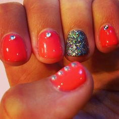Shellac nails glitter orange fall