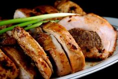 Maple Brined Ancho-Scallion Boneless Turkey Breast with Apple-Butter Pecan Stuffing