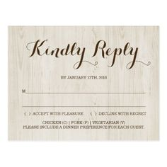 rustic rsvp postcard rustic gifts ideas customize personalize