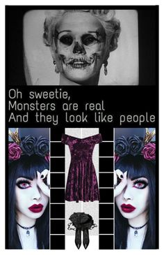 """""""Monsters Are Real..."""" by irresistible-livingdeadgirl ❤ liked on Polyvore featuring Oris, Yves Saint Laurent, emo, goth, gothic, monsters, darkness, skeleton, MarilynMonroe and artset"""