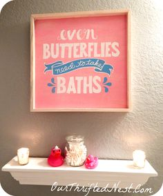 Bathroom Decor Small Little S Girl S Butterfly Pink Gray Blue Purple And