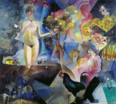 Jury Annenkov (1889-1974, Russian),  Adam and Eve (Адам и Ева) #CuboFuturism #Eve #Adam #birds #nude #кубофутуризма