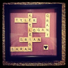 Gift I made for my nana. Her grandchildren. #christmas #scrabble #love #family #crafts #art