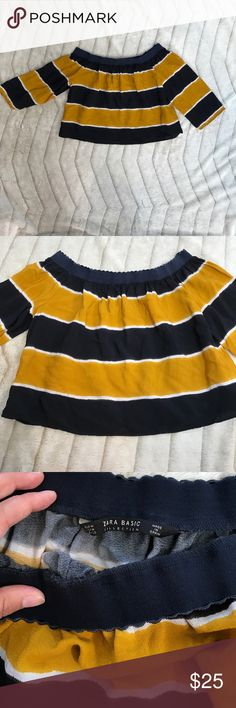 """Zara Off-the-Shoulder Crop Top For sale is a Zara off-the-shoulder Crop Top with white, navy and mustard stripes.  The top is not too short, and sort of """"lampshades"""" over your pants. Zara Tops Crop Tops"""