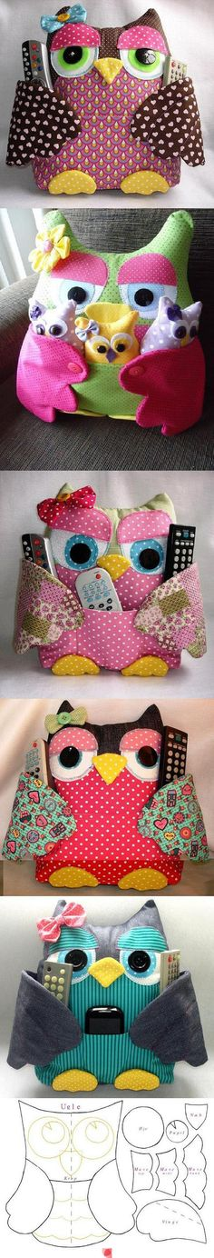 an Owl Pocket Pillow to caddy your TV Remotes  |  the original is in Polish, but Google Translate does a pretty decent job.  I could muddle through it...  |  free #sewing #pattern