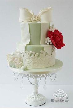 Romantic lace peony cake