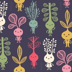 Cutest print ever! Would love to see a kitchen with these silly sprouts covering the walls.
