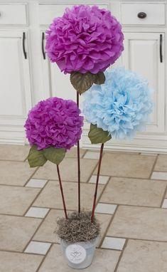 DIY Tissue Paper Pom Pom flowers