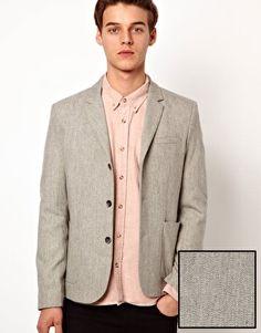 ASOS Slim Fit Blazer in Grey Wool Mix