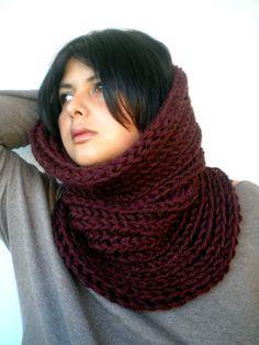 Dark Burgundy Harmonic Cowl Super Soft  Wool by GiuliaKnit on Etsy, $59.00