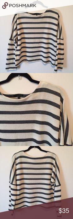 Banana Republic  Striped Pique Sweatshirt Retail$70 Cream and navy stripe sweater. Spring/Summer 2015 for Marissa Webb. Oversized fitting. Drop shoulder. Long sleeve. Fits above hip Banana Republic Sweaters Crew & Scoop Necks