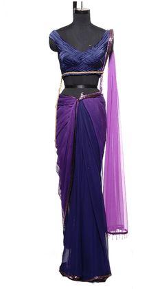 Navy and Violet Saree | Strandofsilk.com - Indian Designers