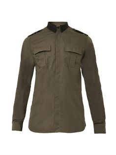 Vintage and Designer Evening Dresses and Gowns - For Sale at Khaki Shirt, Green Shirt, Balmain Collection, Designer Evening Dresses, Khaki Green, Military Fashion, Fashion 2020, Military Jacket, Military Style