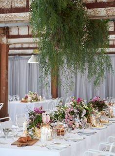 ideas for hanging piece behind top table- we could incorporate flowers into this tooGeorgeous Event Planners WHO: Georgie & Stu WHERE: Many Square Metres PHOTOGRAPHER: Sarah Wood and Nikole Ramsay Loft Wedding Reception, Warehouse Wedding, Wedding Reception Decorations, Wedding Table, Aisle Decorations, Wedding Favors, Flower Installation, Hanging Flowers, Hanging Plants