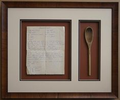 Vintage recipe and mixing spoon shadow box